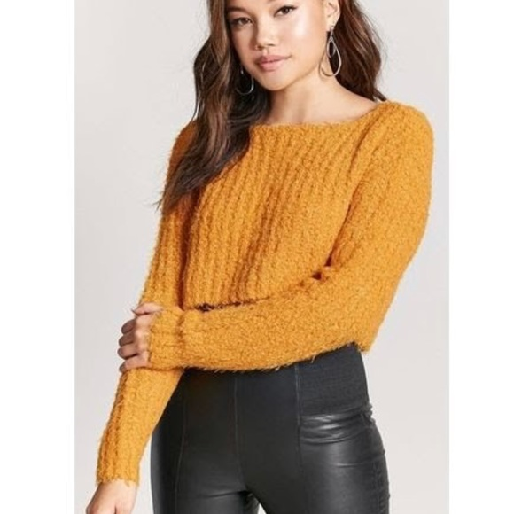 5942d937d18a2c Forever 21 Sweaters - Mustard yellow cropped sweater